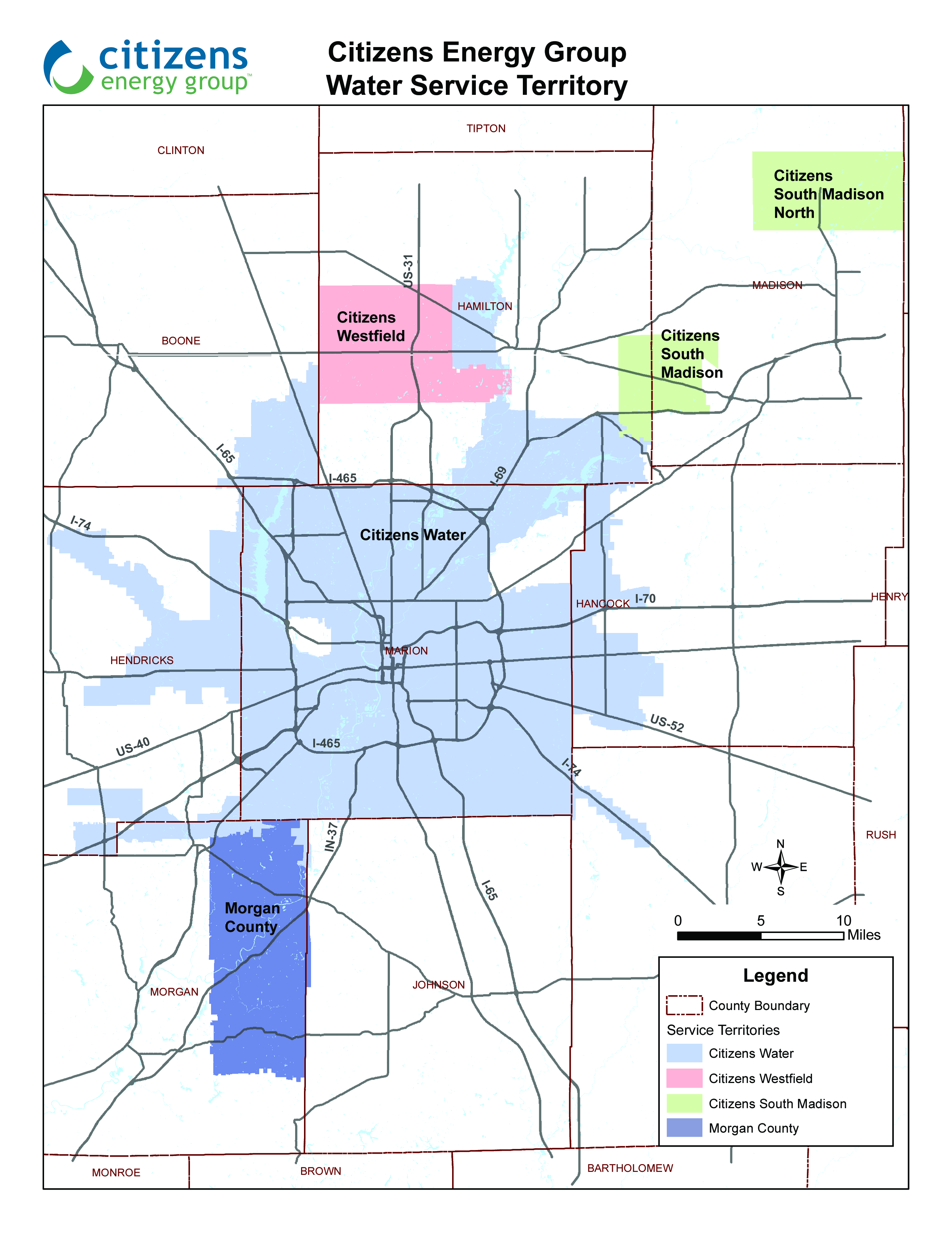 Water Service Territory Map Citizens Energy Group - Map of utility service territories us